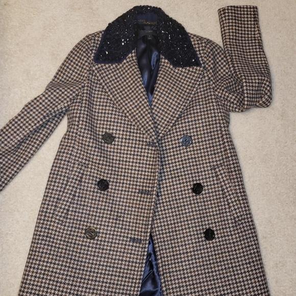 J. Crew Jackets & Blazers - JCrew plaid wool embellished collar pea coat